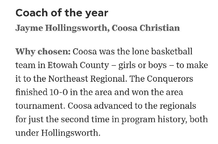 Coach Hollingsworth Coach of the Year